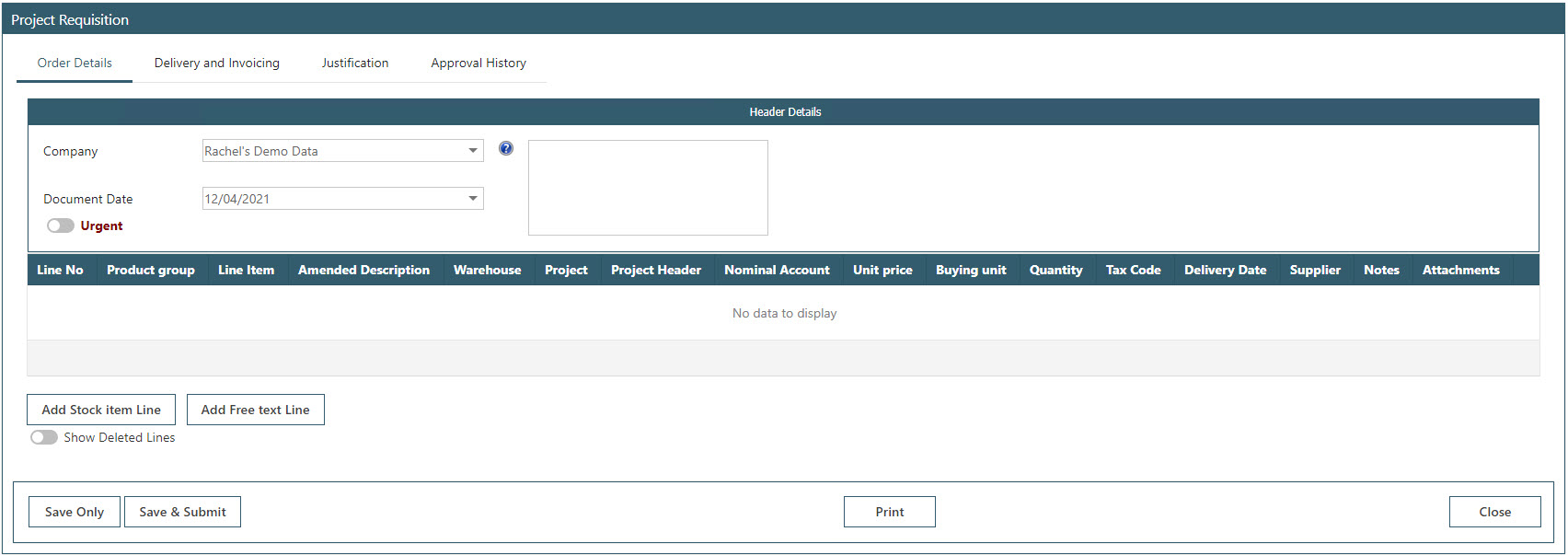 Sicon WAP Purchase Requisitions Help and User Guide - Requisition HUG Section 23.5 Image 1