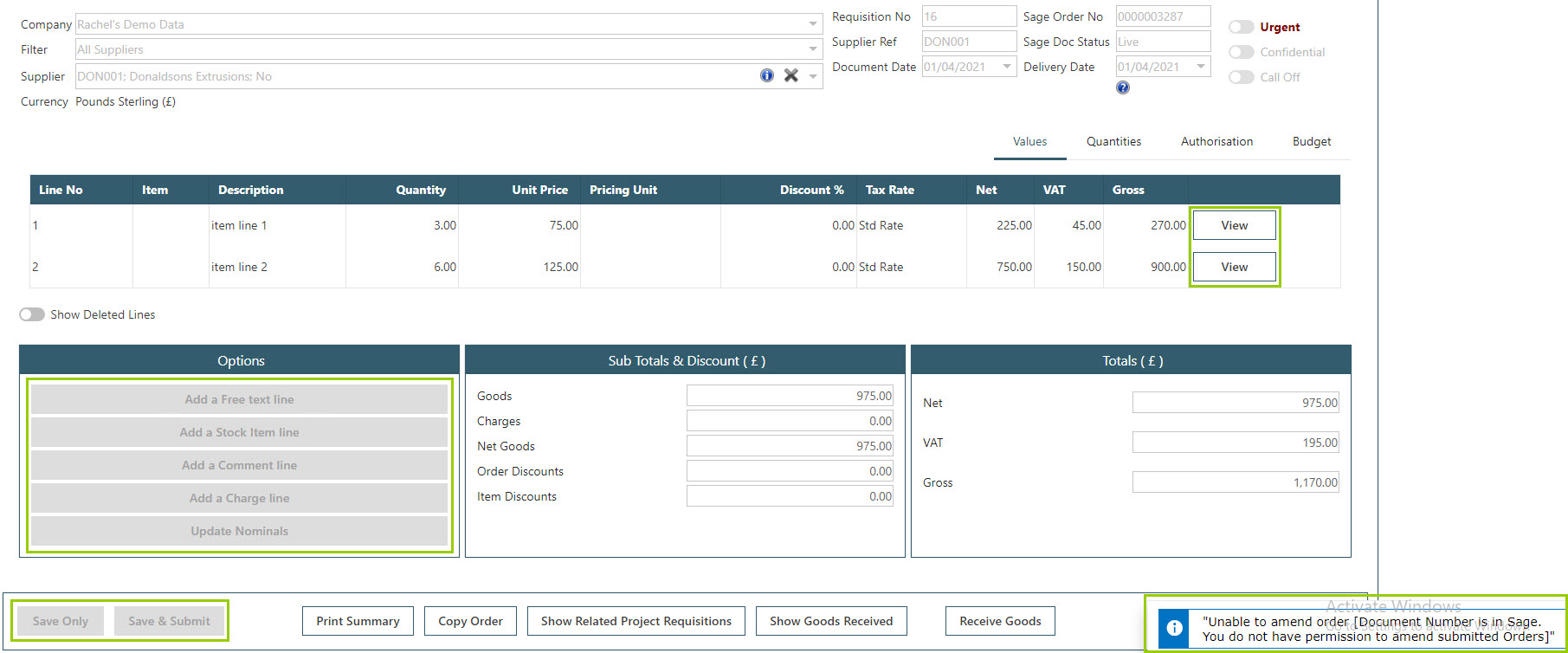Sicon WAP Purchase Requisitions Help and User Guide - Requisition HUG Section 7.6 Image 1