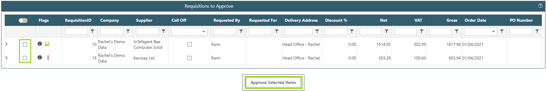 Sicon WAP Purchase Requisitions Help and User Guide - Requisition HUG Section 8.1 Image 2