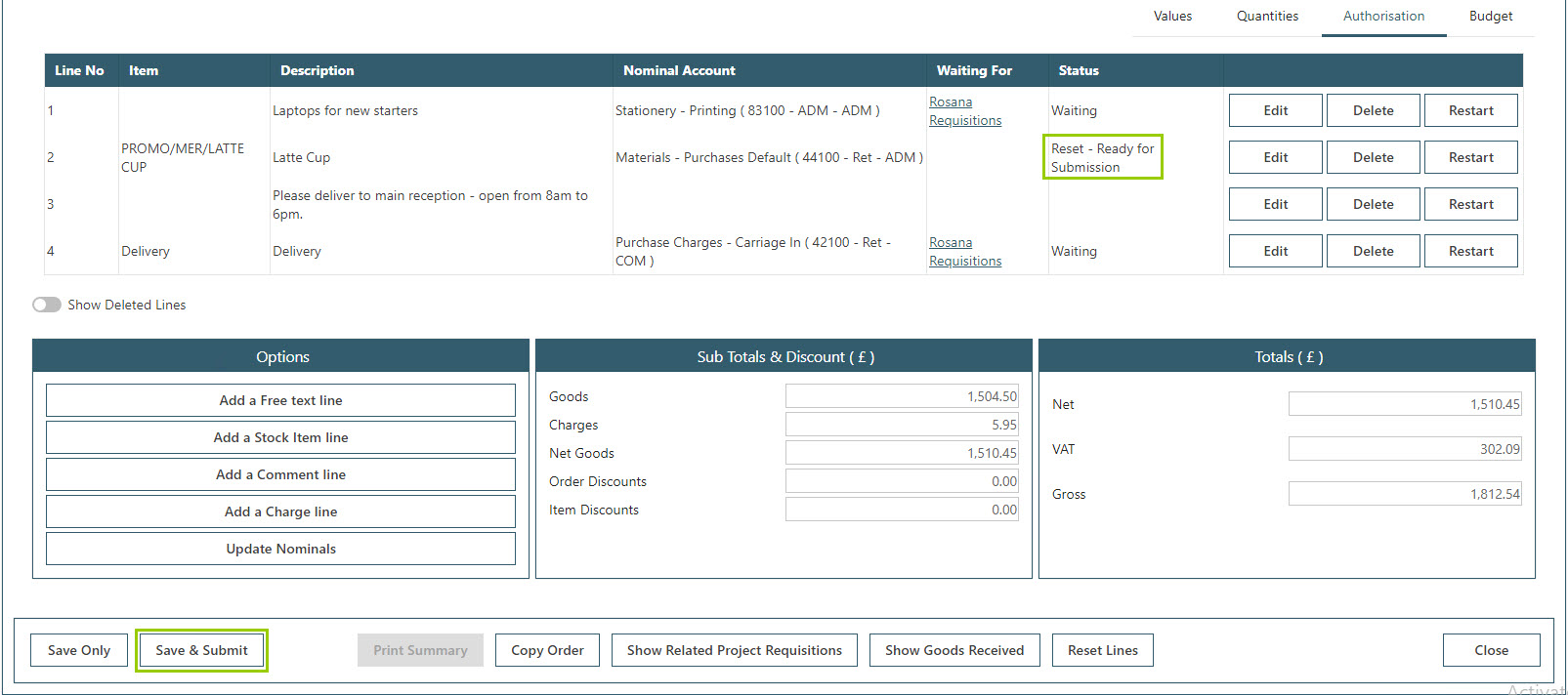Sicon WAP Purchase Requisitions Help and User Guide - Requisition HUG Section 8.2 Image 4