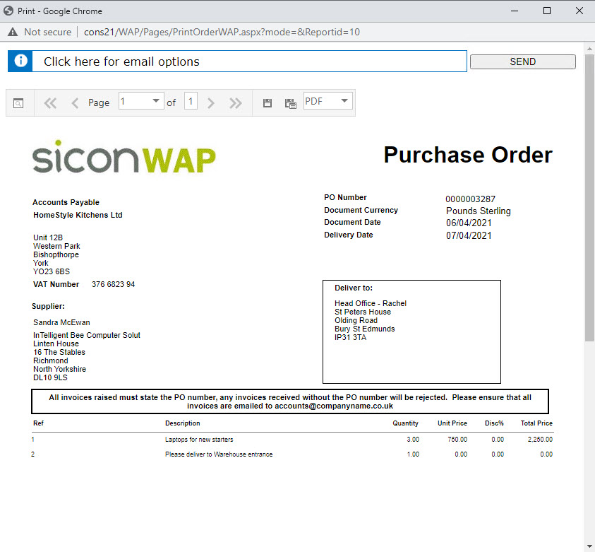 Sicon WAP Purchase Requisitions Help and User Guide - Requisition HUG Section 9.1 Image 2