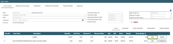 Sicon WAP Sales Order Help and User Guide - Sales Order HUG Section 18.3 Image 1