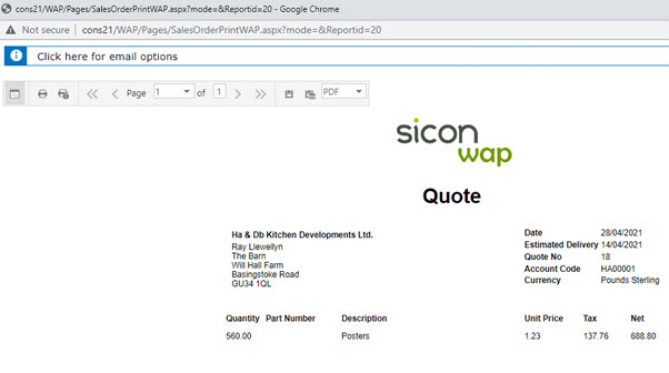 Sicon WAP Sales Order Help and User Guide - Sales Order HUG Section 22 Image 1