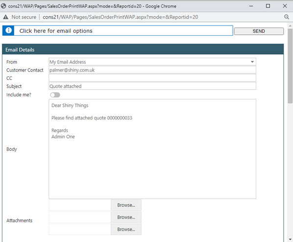 Sicon WAP Sales Order Help and User Guide - Sales Order HUG Section 22 Image 2