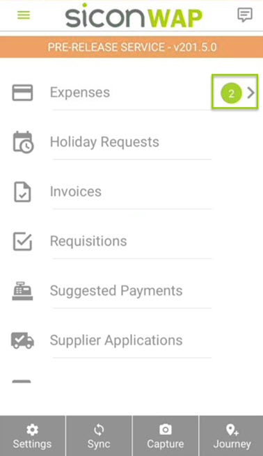 Sicon WAP Expenses Help and User Guide - WAP Expenses HUG Section 17.1 Image 1