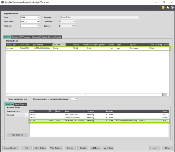 Sicon WAP Expenses Help and User Guide - WAP Expenses HUG Section 20.3 Image 2