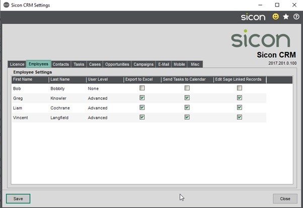 Sicon CRM Help and User Guide - 10.2a - Employees