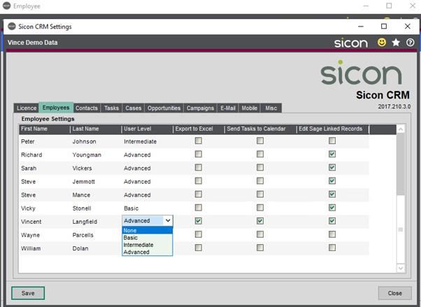 Sicon CRM Help and User Guide - 10.2b - Employees