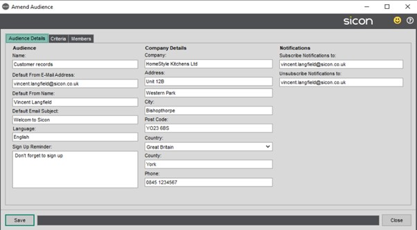 Sicon CRM Help and User Guide - 13.2b Amend Audience