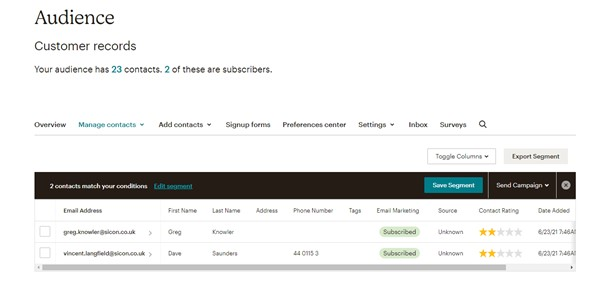 Sicon CRM Help and User Guide - 13.4c Mailchimp Audience