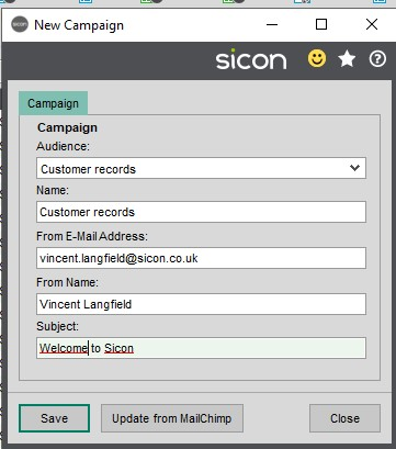 Sicon CRM Help and User Guide - 13.5b New Campaign Details