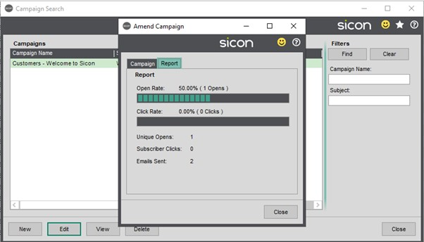 Sicon CRM Help and User Guide - 13.7c Campaign Stats